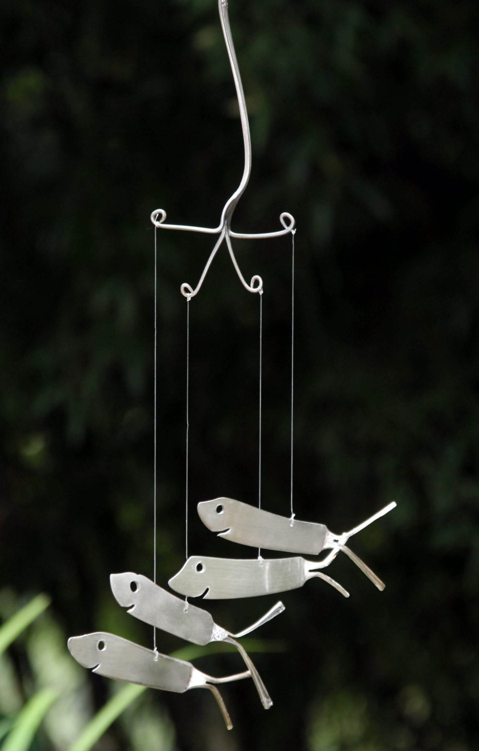 Shark Wind Chimes Recycled From Vintage Flatware, Shark Week
