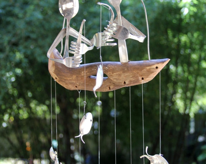 Pair Of Flatware Men Fishing On Top Of A Driftwood Dingy, Seven Silver Plated Fish Swim Beneath-Gone Fishing Spoon Fish Wind chime.