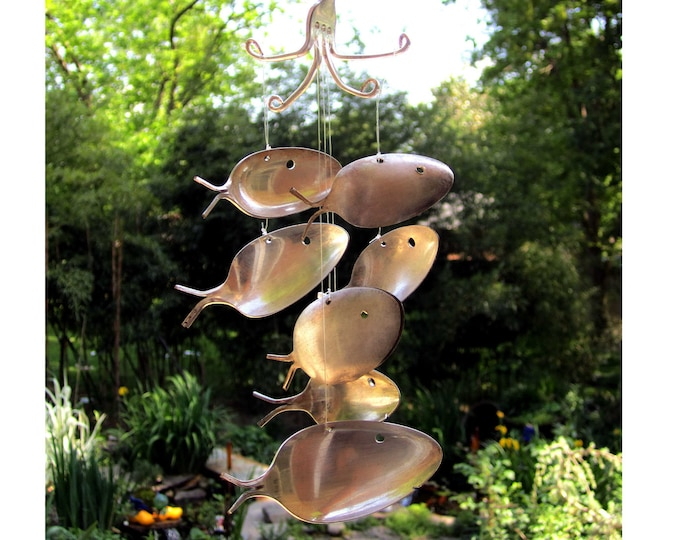 The Original...Only Bigger!  Seven Silver Plated Spoon Fish Windchime - Great Gardener Gift - Upcycled Metal Yard Art