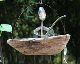 Silverware Man Fishing Spoon Fish Wind Chime, Unique Masculine Mens Christmas Holiday Gift Idea, Natural Driftwood Recycle Windchime Sport