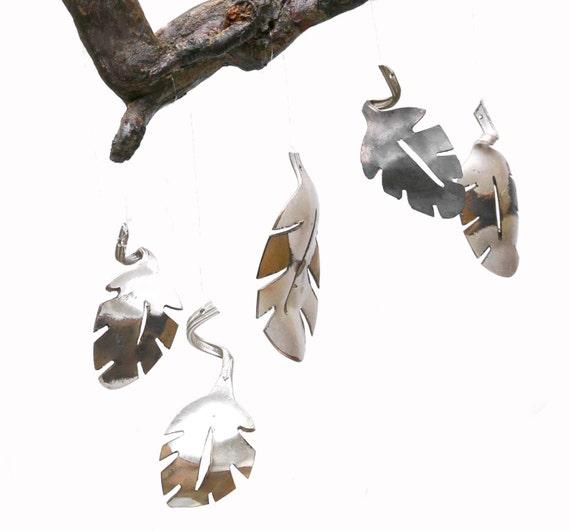 Handmade Silverware Wind Chime Leaf Wall Art Gold Metal Wall Etsy