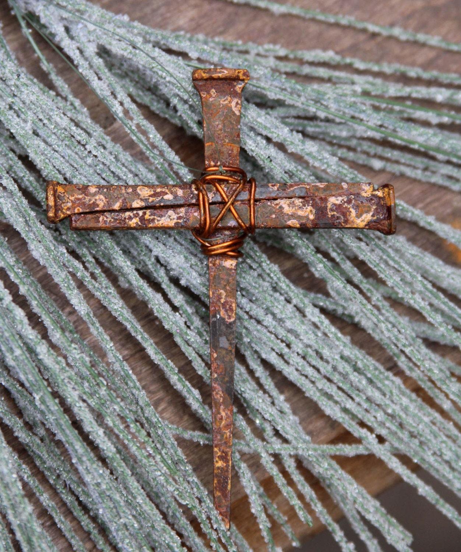 Christian Rustic Metal Symbolic Cross, Metal Nail Religious