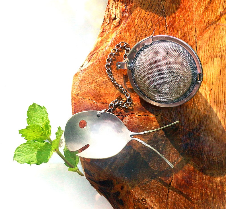 Silver Plate Spoon Fish Tea Steeper Stainless Mesh Ball Infuser Strainer Filter Herbs Gift Bags Holiday Wedding Beach Party Favors Thank You