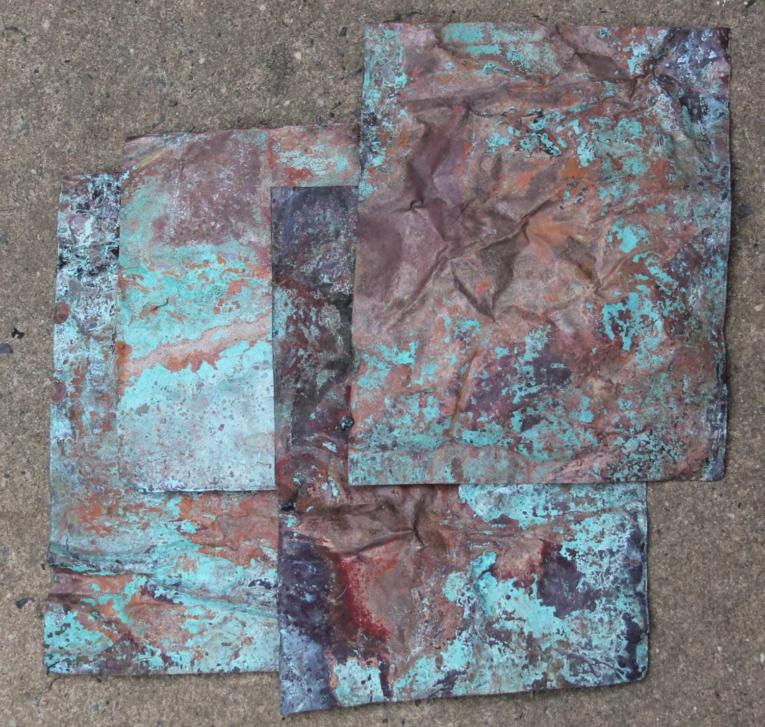 8inx10in Copper Sheeting Wonderful Green Blue Patina