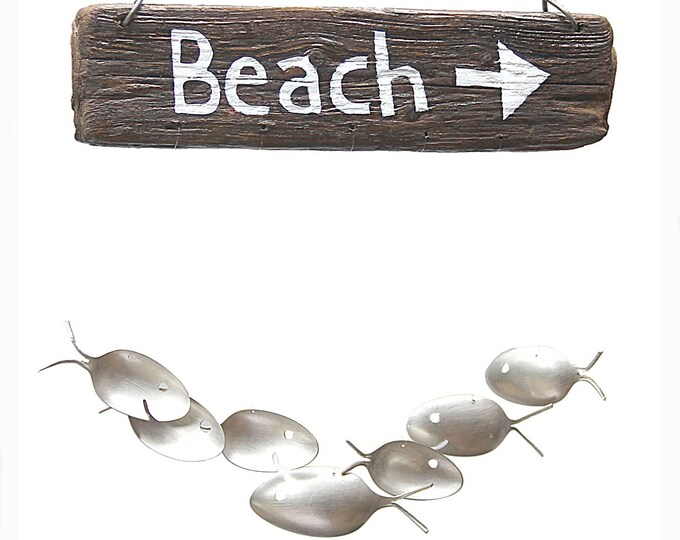 Driftwood Beach Sign Spoon Fish Wind Chime, Custom Wood Lettering, Family Name, Entryway Decor, Wooden Wall Hanging, Screened Porch Decor