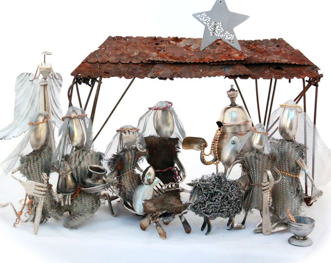 Christmas Nativity Set, handmade 100% recycled metal, Religious Christian set, Bethlehem Manger scene, King of Kings, Our Savior Baby Jesus