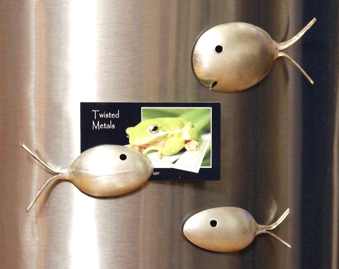 Silver Spoon Fish Magnet, Back to School Locker Decor, Fun Kitchen Decor, Chef Culinary Gift, Easter Basket/Stocking Stuffer