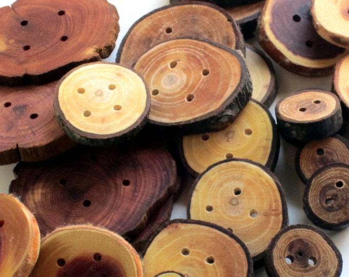 Huge Handmade Wooden Button Lot - 100+ Buttons, Sweater Buttons, Assorted Buttons, Button Lot, 2 Hole 4 Hole Duttons, Natural Wood Buttons