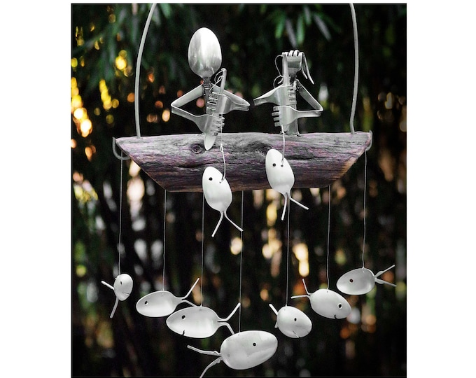 Flatware Fishing Couple Floating Atop a School of 7 Spoon Fish Windchime, 5th Anniversary Gift, Unique Natural Upcycled Mobile