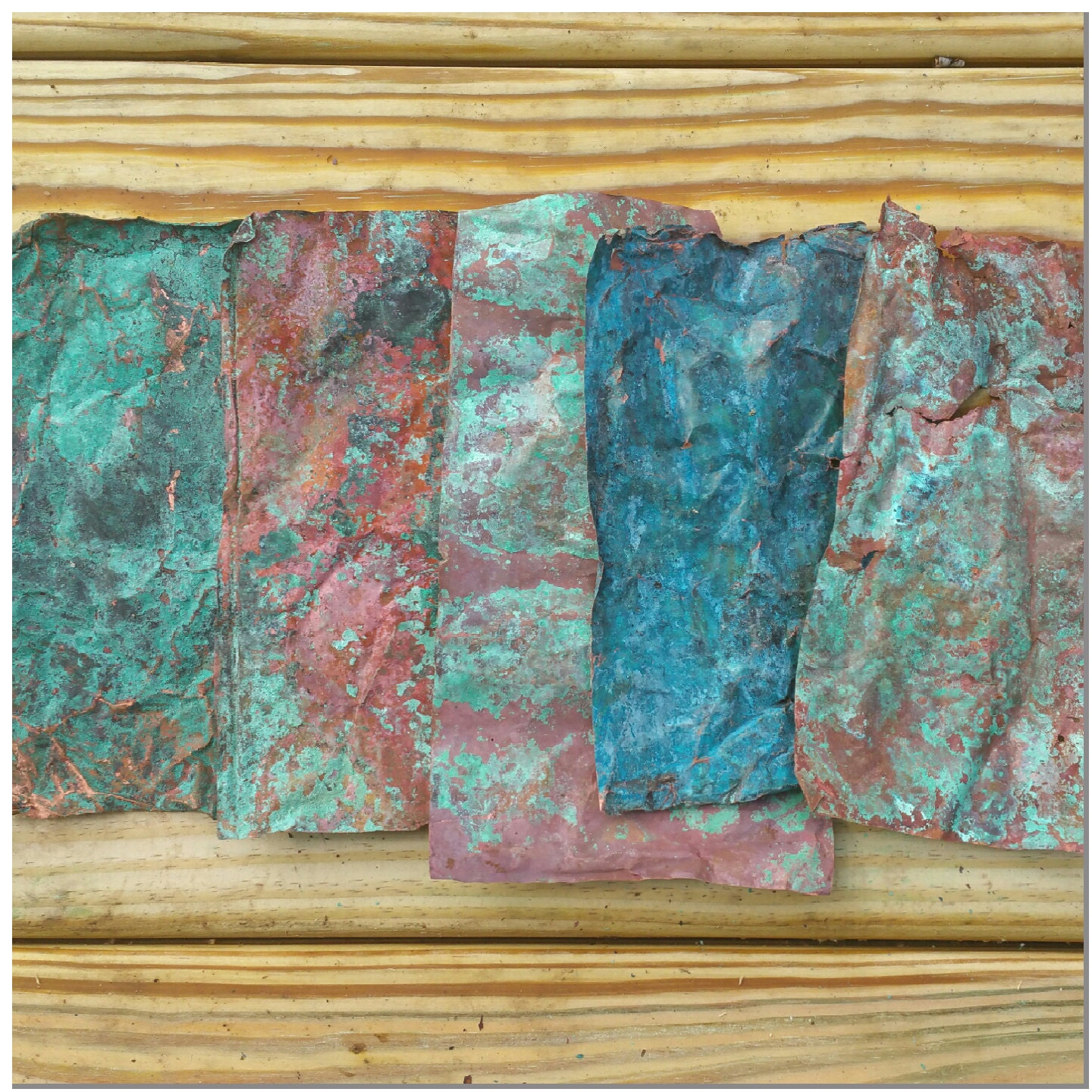 Aged Verdigris Copper Sheet Sample Pack Including Three Etsy