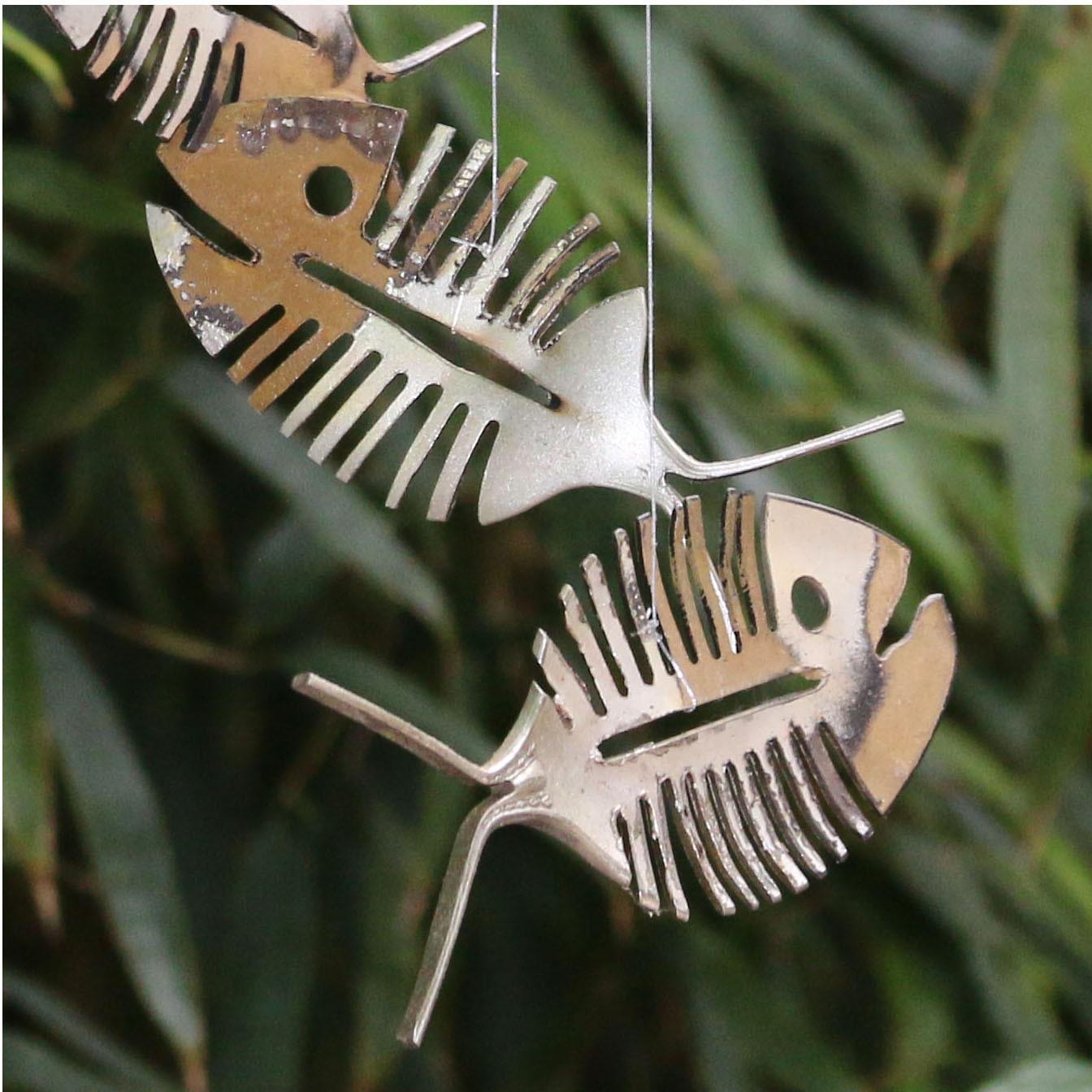 Skeleton Fish Wind Chime Bone Fish Chime Fall Decor Rustic Metal Yard Art Folk Art Wall