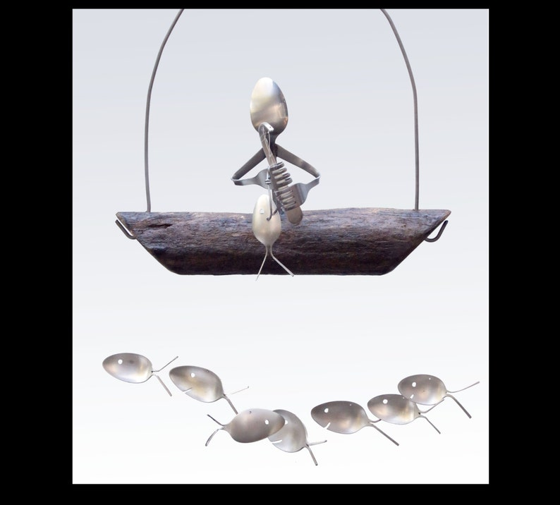 银器人钓鱼勺鱼风铃独特的男性形象1