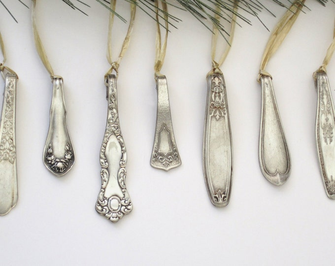 Set Of 10 Silver 1800's Icicle Ornaments, Silver Tinsel Icicles, Shatterproof Hanging Christmas Ornaments,blue Silver Icicle , Metal Tree
