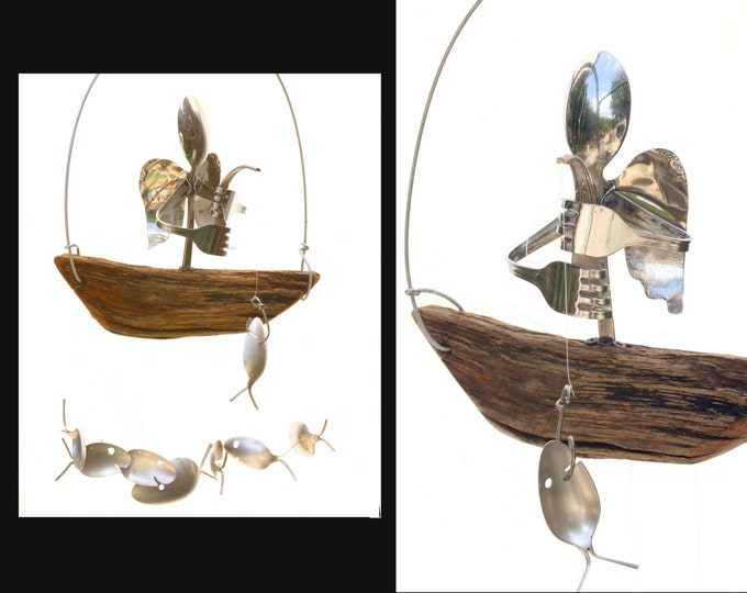 Angel Sculpture Wind Chime Mobile, Sympathy Gift for Loss of Fishing Enthusiast, Guardian Angel Upcycled Art, Memorial Spoon Fish Mobile