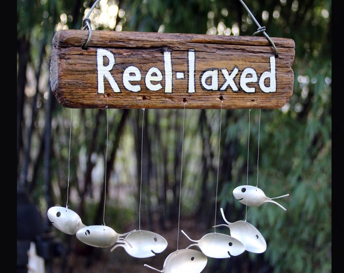Primative Driftwood Sign, Spoon Fish Windchime, Rustic Lake House, Hand Painted Sign, Barn Wood Sign, Funny Yard Sign, Rustic Fisherman Gift