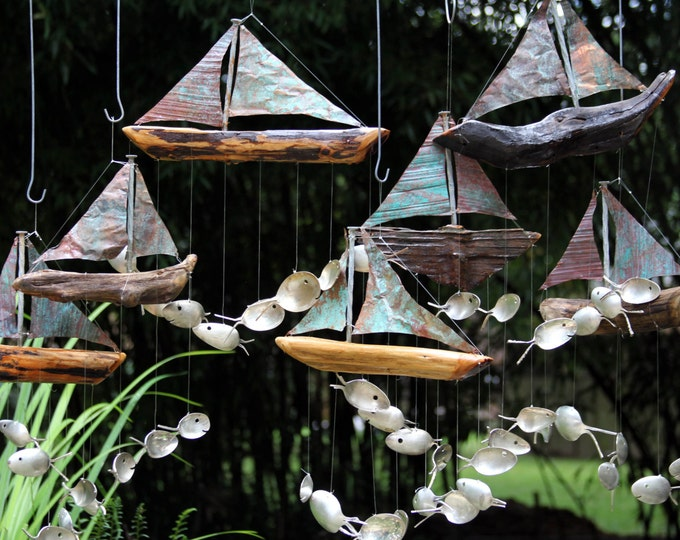 Sailboat Windchime, Seven Sailing Spoonfish, Copper And Driftwood, Garden Windchime, Wooden Sail Boat, Nautical Boat Decor, Model Ship Boat