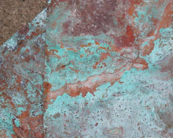 8x10 Copper Sheeting, Wonderful Green / Blue Patina, Old Aged Copper, Metal Stamping Sheet, Scrap Book Supplies, Scrapbooking, Verdigris