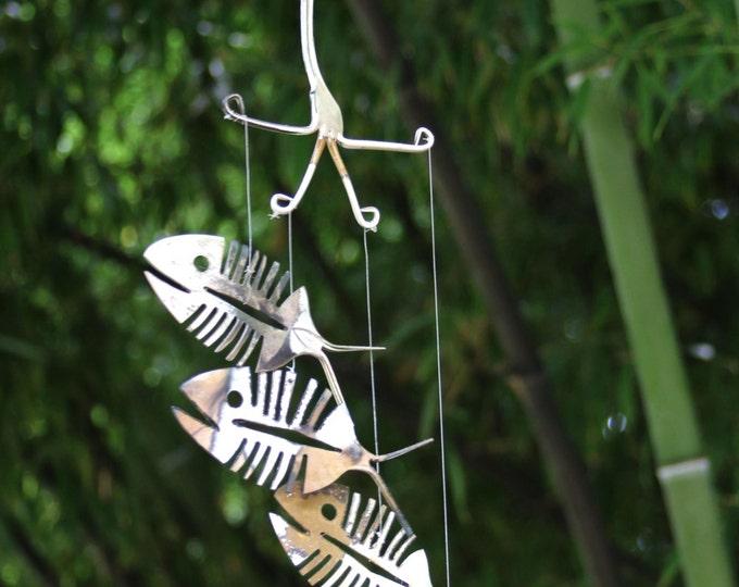 Skeleton Fish Wind Chime, Bone Fish Chime, Fall Decor, Rustic Metal Yard Art, Folk Art Wall Hanging Sculpture Metal Fish, Tribal Fish Design