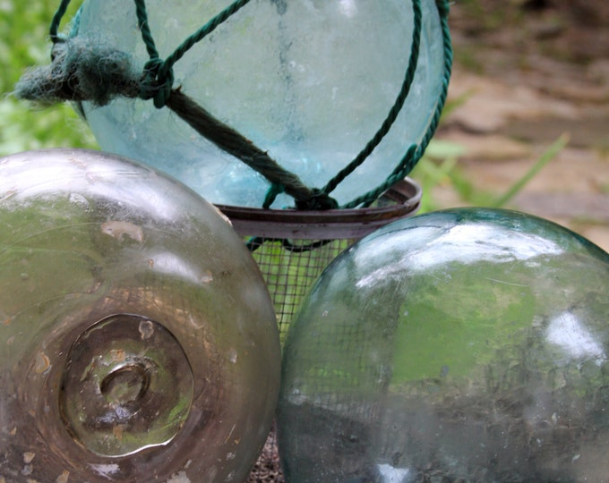 Large Authentic Japanese Fishing Float, Ocean Fresh Style, Glass Buoy, Vintage Nautical, Glass Ball, Garden Orb, Green Glass, Blue Glass
