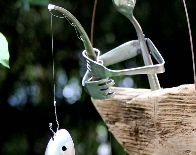 Give As A Gift! Flatware Fisher In Natural Boat, Gone Fishing Wind Chime Out Door In Side Angler Boat Garden Rugged Rustic Kitchen Recycled