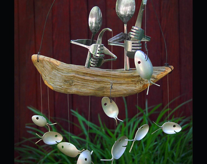 Father And Son Fishing Trip Spoon Fish Wind Chime,present For Dad, Rustic Cabin Chime, Koi Garden Art, Bait Lures Tackle, Fishing Lure Spoon