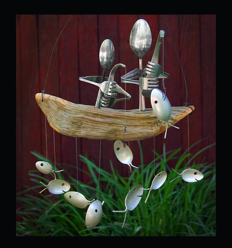 Father And Son Fishing Trip Spoon Fish Wind Chimepresent For image 0