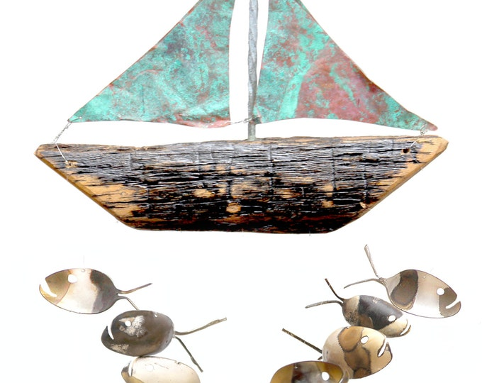 7 Rustic Spoon Fish And Gnarly Wood Sail Boat With Aged Copper Sails, Nordic Garden Sculpture, Captain/First Mate/Crew Appreciation Gift