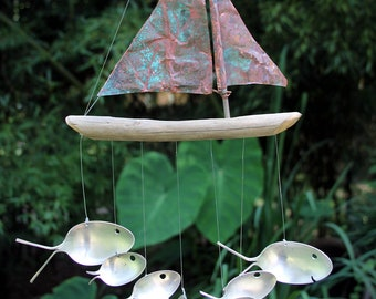 Copper And Driftwood Windchime - Seven Sailing Spoonfish -aged Blue Green Copper & Driftwood Sailboat Wind Chime Wth Upcycled Flatware Fish