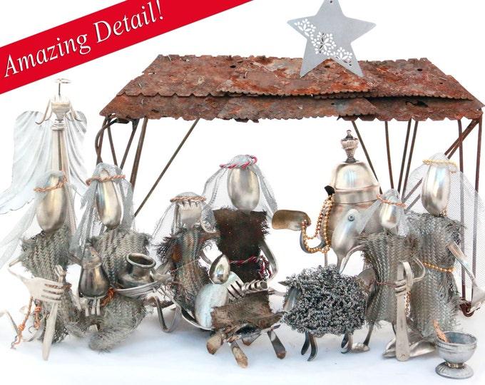 SUPER SALE Christmas Nativity  Handmade Nativity Set, Sterling Flatware, Manger Scene, Birth of Jesus Christ Holy Night Christian, Religious