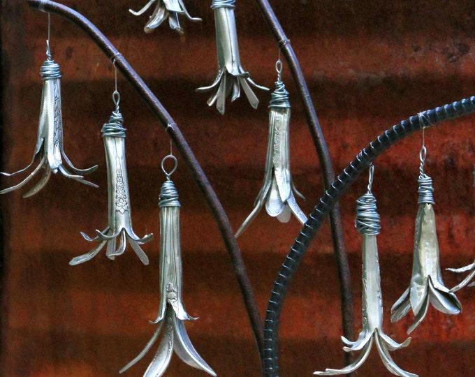 Silver Wedding Bells Floral Arrangement, Blue Bell Flower Sculpture, Hanging Flowers, Enchanted Fairy Forest Garden, Vintage Gardening Tools