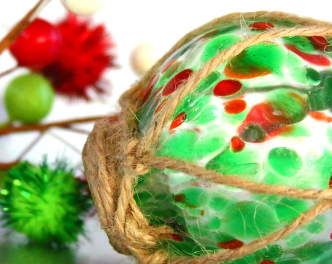 Hand Blown Glass Ornament, red green Christmas, Classic Fish Buoy Ball, Orb Sphere Bauble, Transparent Green Colorful Multi Color Hues Pyrex