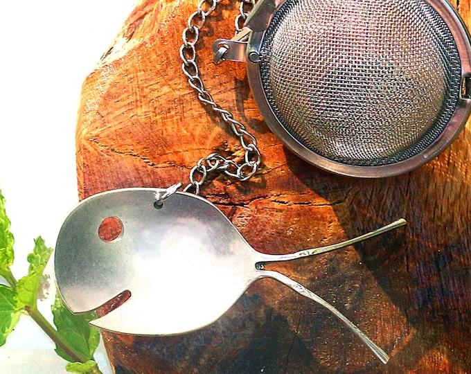 Vintage Silver Spoon Fish Tea Strainer, Spoon Fish Tea Infuser, Stainless Ball, Loose Herbal Tea, Long Leaf Tea, Elegant Tea Party Accent