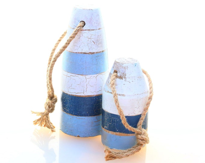 Wood Buoy Rope Decor Distressed Blue White Nautical Lobster Crab Shrimp Float Pot, New England Style, Large Nautical Wood, Trap Buoy Marker