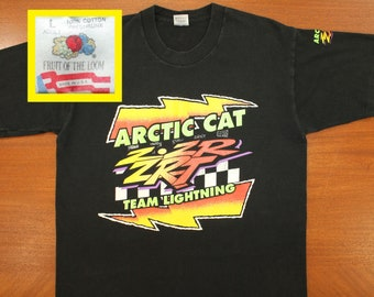 16481b84d Arctic Cat Team Lightning snowmobiles vintage t-shirt M/L black 80s 90s  Fruit of the Loom Z ZR ZRT