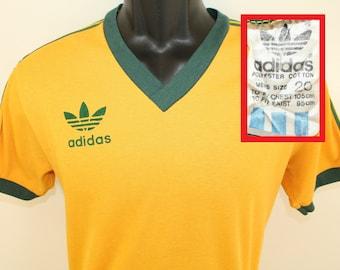 26d879e1bb4 Adidas Australia vintage v-neck t-shirt S/M yellow green 80s cotton poly  trefoil logo graphic country