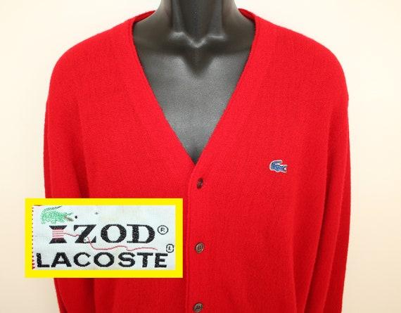 d34675c7 Izod Lacoste vintage cardigan sweater M red 70s 80s alligator logo 100%  acrylic