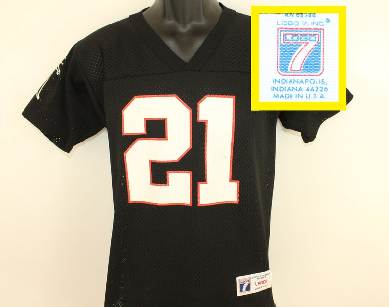 huge selection of fdea5 b2177 Atlanta Falcons #21 Deion Sanders vintage kids' jersey youth Large black  90s NFL football Logo 7