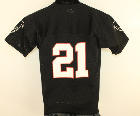 huge selection of e8c37 54735 Atlanta Falcons #21 Deion Sanders vintage kids' jersey youth Large black  90s NFL football Logo 7