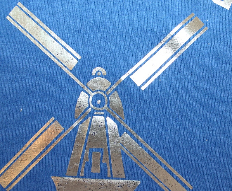 Dutch Chatter vintage t-shirt L blue 90s windmill tulips Best Fruit of the  Loom shiny graphic