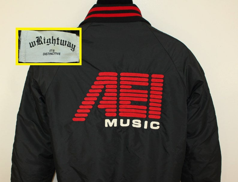AEI Music Sound Systems Inc Penny vintage insulated embroidered jacket  Medium black red 80s