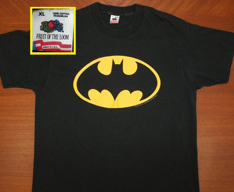 promo code 9d0f4 392da Batman logo graphic DC Comics vintage t-shirt XL black 80s 90s Fruit of the  Loom