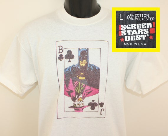 1097c0f3f Batman Joker playing card vintage t-shirt M/L white 80s 90s | Etsy