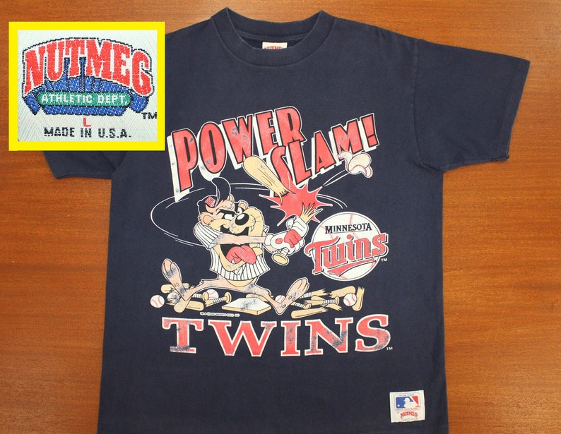 Minnesota Twins Taz vintage t-shirt L navy blue 90s 1991 MLB baseball  Tasmanian Devil Warner Bros Kirby Puckett