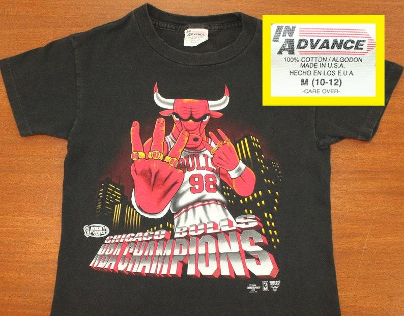 fb40d094282 Chicago Bulls 1998 six rings vintage youth t-shirt kids M | Etsy