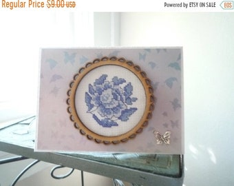 China Blue, Hand Stitched Greeting Card