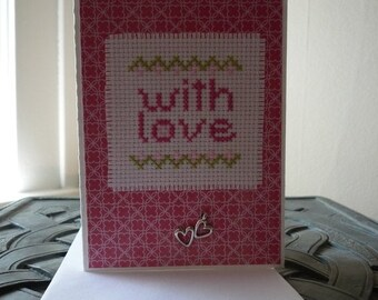 With Love, Hand Stitched Greeting Card
