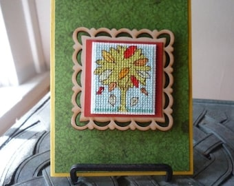 Falling Leaves, Hand Stitched Greeting Card and Magnet