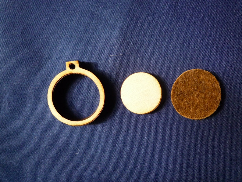 Mini Round Wooden Embroidery hoop for Necklaces or pendants  image 0
