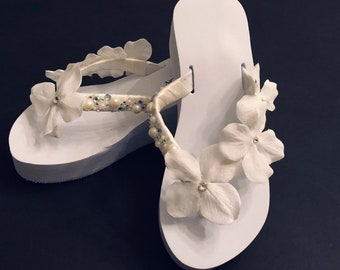 a7d302c48cdf Wedged Bridal Flip Flops. Wedding Flip Flops. Ivory Wedding Shoes. White  Bride Shoes. Beach Wedding Shoes.Bridesmaid Shoes.FREE SHIPPING