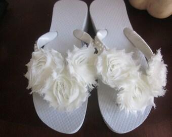 Items similar to Wedding Flip Flops.Bridal Flip Flops.Wedges and ...